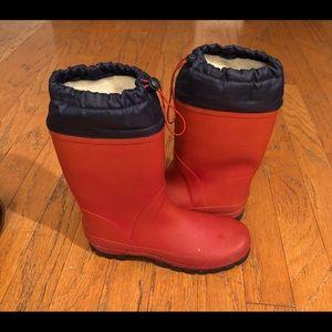 Nice Lands' End Red Rubber Rain/Snow Boots Sz 7
